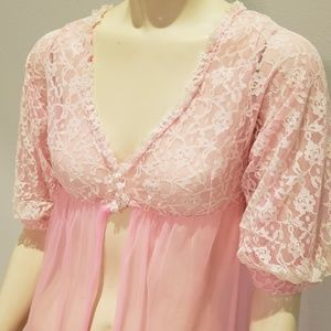Other - pink sheer nylon and lace robe negligee 1970's S